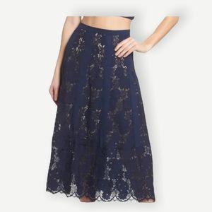 FOXIEDOX Sz M NWT Navy Blue Lace Midi Skirt WOW